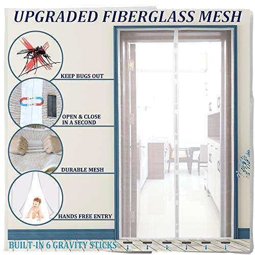 2020Upgraded Magnetic Screen Door with 28 Magnets&6 Gravity Sticks Reinforced Fiberglass Door Curtain with Full Frame Hook&Loop, Hands Free, Pet and Kid Friendly, 39'x 83'- White by Dysome