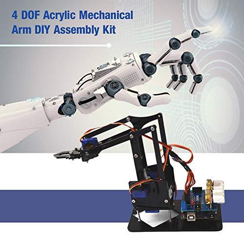 Acogedor SNAM1900 Robotic Arm Kit,Mechanical Arm ,Robotic Arm DIY Kit,4 DOF DIY Robot Claw Kit,Robotic Arm for College Students, Middle School Students, DIY Enthusiasts, etc. US Plug(100-240V)