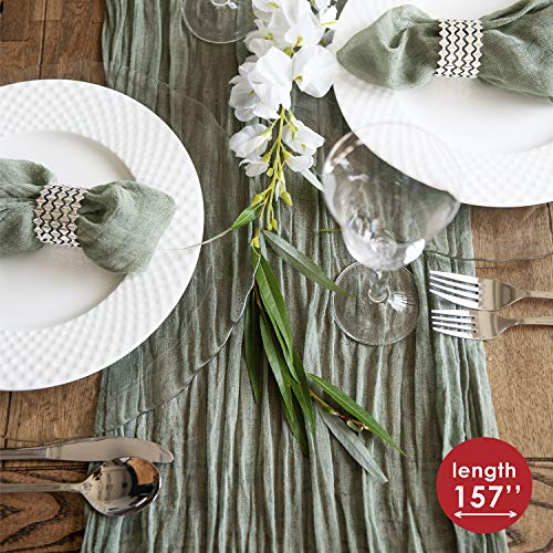 Magic Moment Gauze Table Runner - Cheesecloth Table Cloth - Holiday Table Runner for Wedding - Rustic Table Runner 160 in - Olive Green Runner - Cotton Cheesecloth Runner - Farm House Wedding Decor