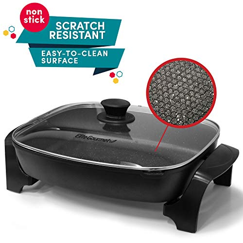Elite Gourmet EG-6203 Non-Stick Deep Dish Heavy Duty Electric Skillet with Tempered G Easy-Pour Spout, Dishwasher Safe, 1500W, 16', Black