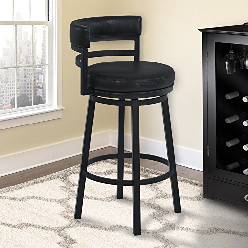 Armen Living Madrid 26' Counter Height Swivel Barstool in Ford Black Faux Leather and Black Metal Finish