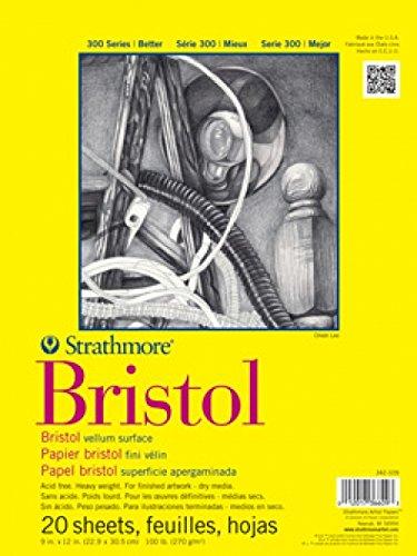 Strathmore 300 Series Bristol Vellum Pad, 14'x17', Tape Bound, 20 Sheets