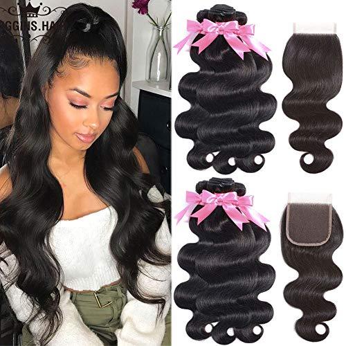 8A Brazilian Body Wave Bundles with Closure (16 18 20+ 14) Free Part Brazilian Virgin Human Hair Bundles 3 Bundles with Closure 100% Unprocessed Virgin Remy Hair Bundles Natural Black
