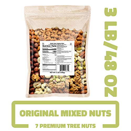 Daily Nuts Original Mix (Mixed Nuts - 7 Premium Tree Nuts) 3 LB Bulk (48 OZ) DRY ROASTED AND RAW, UNSALTED, HEALTHY MIXED NUTS