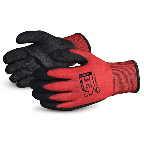 Superior Winter Work Gloves - Fleece-Lined with Black Tight Grip Palms (Cold Temperatures) SNTAPVC  Size Medium
