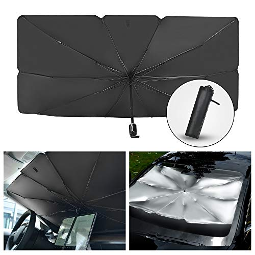Car Sun Shade for Windshield Foldable Sunshades Umbrella for Car Front Windshield, 57 x 31 inch, Easy to Store and Use Protect Vehicle from UV Sun and Heat Fits Windshields of Various Sizes