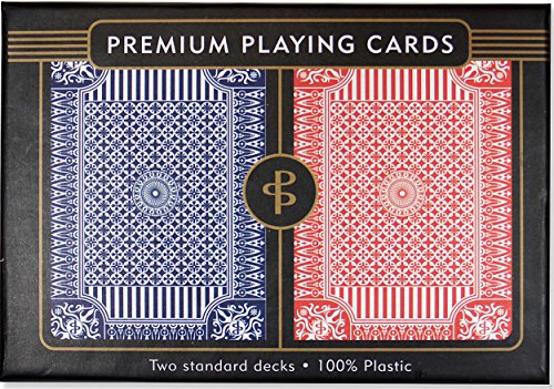 Blue & Red Premium Plastic Playing Cards, Set of 2, Poker Size Deck (Standard Index)