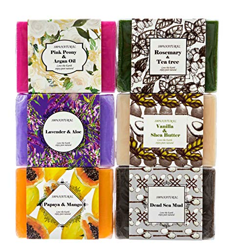 Handmade Soap Bars Gift Set - 6 Pc Purelis Natural Soap Set- Artisan Crafted Soap Bars with Essential Oils. Soap Gift Set for Women Makes Best Bath And Body Holiday Gift for Women!