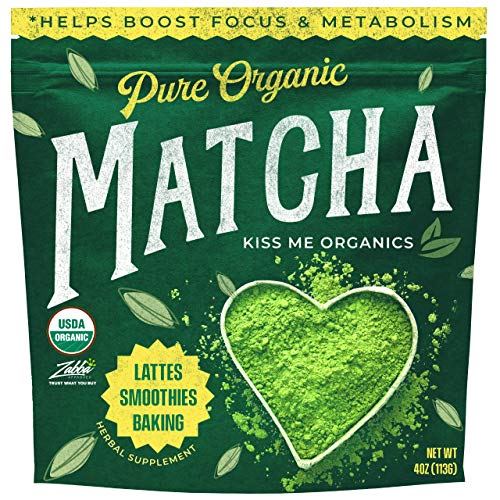 Kiss Me Organics Matcha Green Tea Powder - Organic Japanese Culinary Grade Matcha - 4 ounces (113 grams)