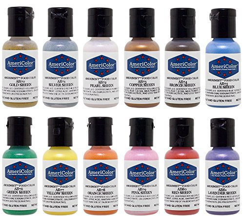 Americolor 12 Color SHEEN - PEARLESCENT Airbrush Color Kit 7.8 oz. Ounce (0.65 Oz each bottle)