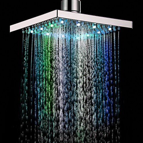eoocvt 8 inch Square 7 Colors Automatic Changing LED Shower Head Bathroom Showerheads Sprinkler