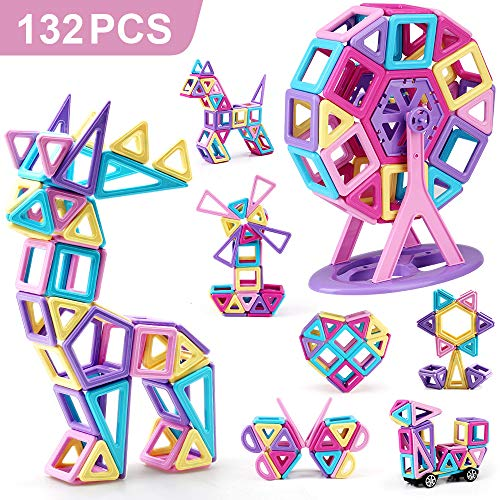 Amy&Benton Mini Castle Magnetic Building Blocks 132PCS for Kids Babies and Toddlers Small STEM Educational Toys
