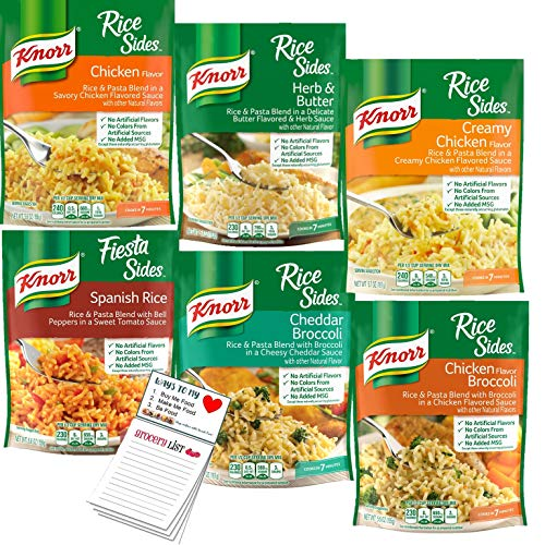 Knorr Rice Sides Variety Pack of 6 | Rice and Pasta Side Dishes in 6 Yummy Flavors | Snack Fun Shopping Pad