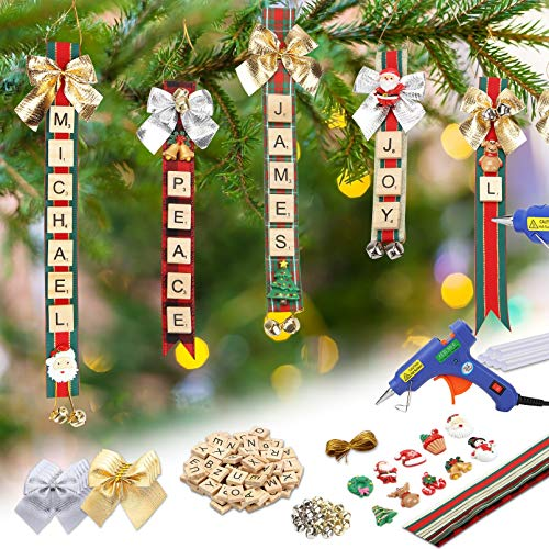 Christmas Ornaments Tree Decorations Personalized Scrabble Crafts for Kids Adults Kit DIY Hot Glue Gun Ribbon Letter Tiles Jingle Bells Rustic Xmas Decor for Gifts Stockings Tags Present Toppers