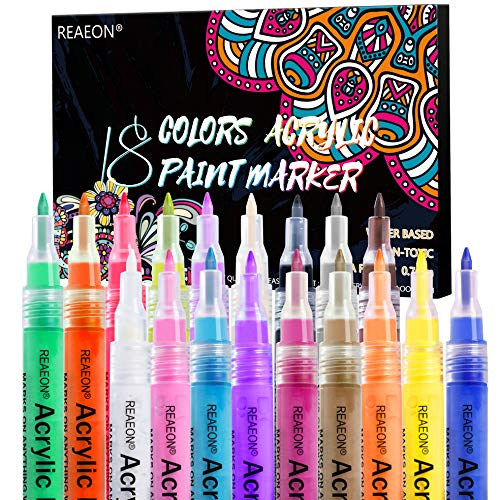 Paint pens, Acrylic Paint Markers Fine Point More Ink for Rocks, Craft, Ceramic, Glass, Wood, Fabric, Canvas - Art Crafting Supplies Set of 18 Colors
