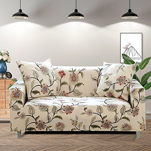Lamberia Printed Sofa Cover Stretch Couch Cover Sofa Slipcovers for Couches and Loveseats with Two Free Pillow Cases (Blooming Flower, Loveseat)
