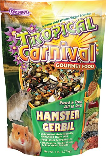 F.M. Brown's Tropical Carnival Gourmet Hamster and Gerbil Food with Fruits, Veggies, Seeds, and Grains, Vitamin-Nutrient Fortified Daily Diet - 5lb
