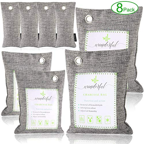 Angbo Activated Bamboo Charcoal Air Purifying Bags for Home, Car and Office, 8 Packs