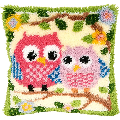 Beyond Your Thoughts Latch Hook Kits for DIY Throw Pillow Cover Sofa Cushion Cover Owl with Pattern Printed 16X16 inch BZ644