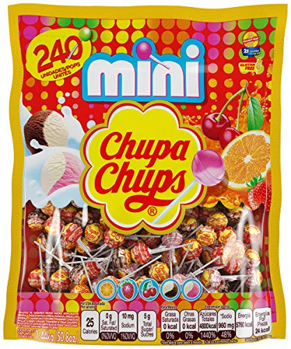 Chupa Chups Mini Lollipops, 240 Bulk Candy Suckers for Kids, Cremosa Ice Cream, 7 Assorted Creamy Flavors, Variety Pack for Gifting, Parties, Office, 240 Count