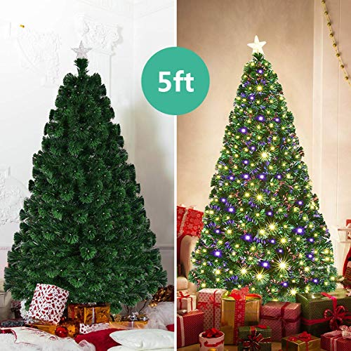 Goplus 5FT Artificial Christmas Tree Pre-Lit Optical Fiber Tree 8 Flash Modes W/UL Certified Multicolored LED Lights & Metal Stand