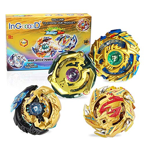 Ingooood Metal Master Fusion Gyro Toys for Kids, 4X High Performance Tops Attack Set with Launcher and Grip Starter Set and Arena