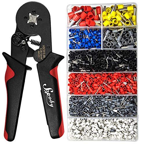 Ferrule Crimping Tool Kit - Sopoby Ferrule Crimper Plier (AWG 28-7) w/ 1800pcs Wire Ferrules Kit Wire Ends Terminals