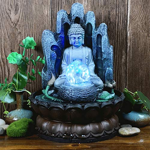 Buddha Tabletop Fountain, Unique Resin Water Fountain for Home & Office Ornament, Decorative Sculpture with LED Light, Gifts for Friends for Good Luck(US 110V)