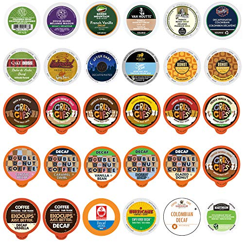 Decaf Flavored Coffee Pods Variety Pack Sampler, Assorted Single Serve Mix of Decaffeinated Coffee Capsules Compatible with Keurig K Cups Brewers, 30 Unique Decaf Flavored Coffees - No Duplicates