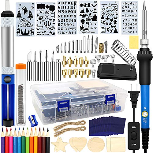 Wood Burning Kit 95pcs, West Bay Soldering Pyrography Pen with Adjustable On-Off Switch Control Temperature Wood Burning Tool for Embossing/Carving/Soldering Tips/Carrying Box Father's Day Gift