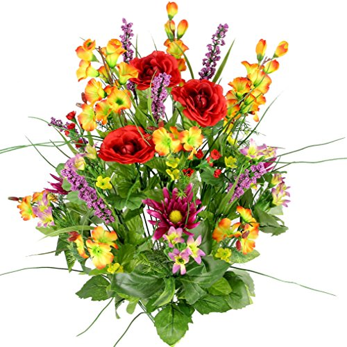 Artificial Dahlia, Morning Glory and Ranunculus and Blossom Fillers Mixed Bush - 30 Stems for Home, Wedding, Restaurant and Office Decoration Arrangement, Red/Orange/Yellow/Lilac