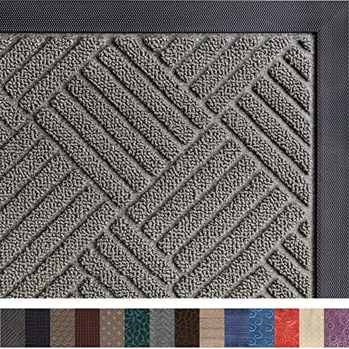 Gorilla Grip Original Durable Rubber Door Mat, 29x17, Heavy Duty Doormat, Indoor Outdoor, Waterproof, Easy Clean, Low-Profile Mats for Entry, Garage, Patio, High Traffic Areas, Gray Diamond
