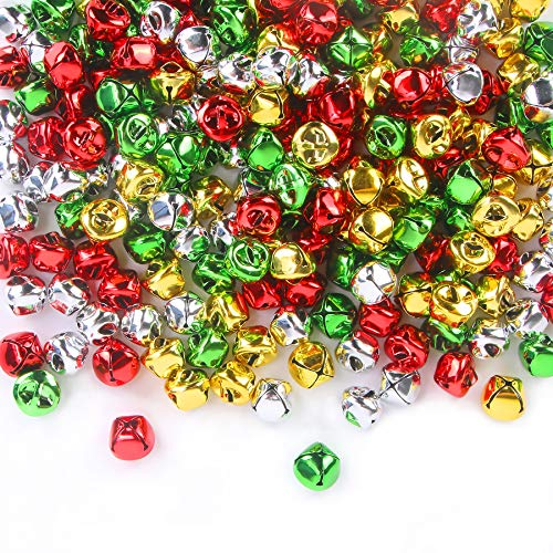 200 Pieces Jingle Bells 3/5Inch Craft Bell Bulk for Christmas Home and Pet Decorations (4 Colors)