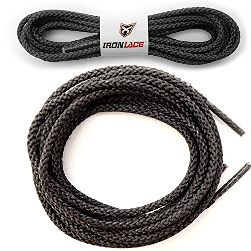 Ironlace Unbreakable Extra Heavy Duty Round Boot Laces Shoelaces 45', 45 Black 30003