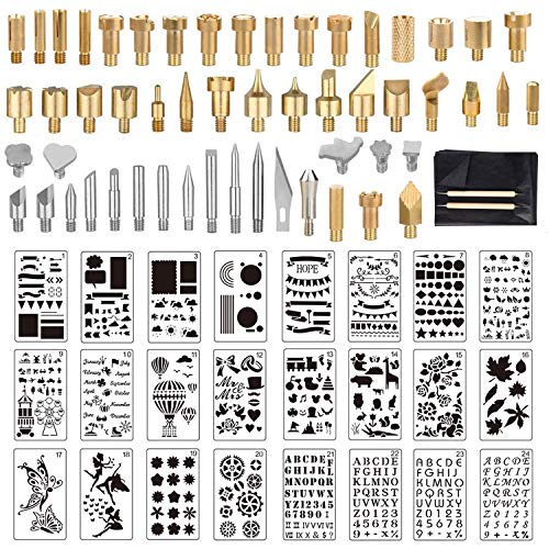 UWIOFF 77 Pcs Wood Burning Accessories, Wood Burning Tips Set and Stencils Carving Iron Tip, 53pcs Wood Burning Carving Embossing Soldering Tips and 24pcs Stencils for Pyrography Woodworking Leather
