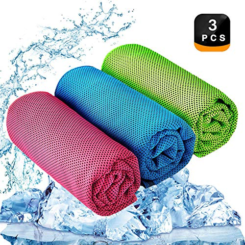 YQXCC Cooling Towel 3 Pcs (47'x12') Microfiber Towel for Instant Cooling Relief, Cool Cold Towel for Yoga Golf Travel Gym Sports Camping Football & Outdoor Sports (Light Blue/Green/Rose Red)