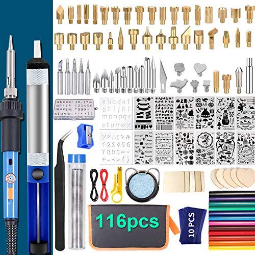 IVSUN 116pcs Wood Burning kit, Professional Wood Burning Tool with Soldering, DIY Creative Tools Adjustable Temperature 220~480℃ Wood Burner Soldering Pen for Embossing/Carving/Soldering & Pyrography