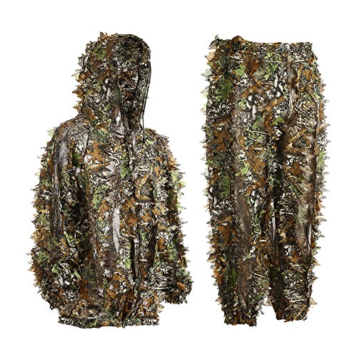 EAmber Ghillie Suit Youth 3D Leaf Realtree Camo Camouflage Lightweight Clothing Suits for Jungle Hunting, CS Game, Airsoft, Wildlife Photography or Halloween