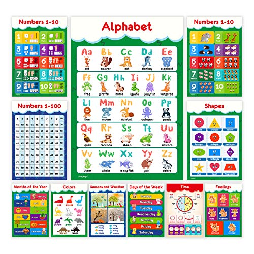11 Educational Posters for Toddlers and Kids - Perfect for Children Preschool & Kindergarten Classroom Decorations - Alphabet ABC Poster, Numbers, Weather Chart, Shapes, Colors - 19x13