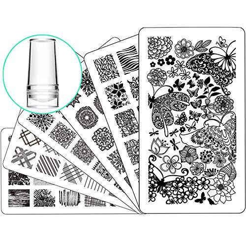 Nail Stamping Plate Nail Stamper - Ejiubas Nail Stamping Kit Nail Art Stamp 3 Pcs Nail Stamper Plates 1 Clear Nail Art Stamper DIY Nail Stamp Kit EJB-01 06 08