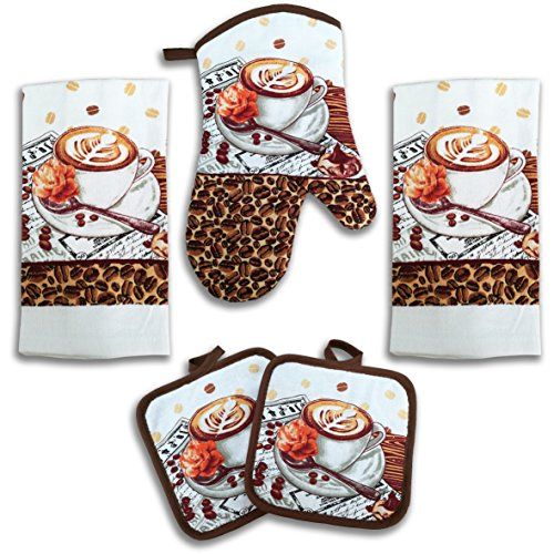 American Mills Coffee and Latte Decor 5 Piece Printed Kitchen Linen Set Includes Towels Pot Holders Oven Mitt