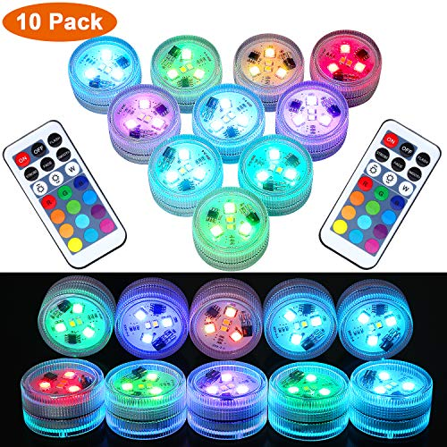 10Pcs Remote Submersible LED Lights Tea Lights Underwater Lights Battery Powered Flameless LED Accent Light for Party Event Vase Fishtank Halloween Christmas Wedding