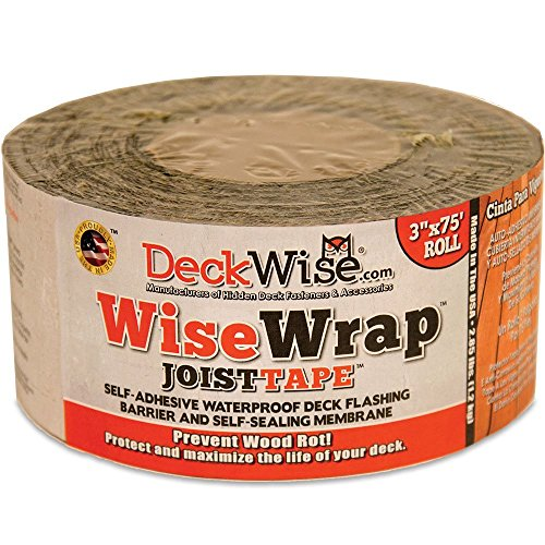 DeckWise WiseWrap JoistTape 3' x 75' Self-Adhesive Deck Joist Flashing Tape for Hardwood, Thermal Wood, PVC, Pressure Treated, and Composite Decking (1 roll)