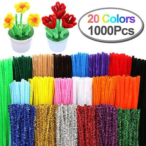 Pipe Cleaners, Pack of 1000 Pieces Jumbo Pipe Cleaners Crafting DIY Projects Pipe Cleaners Bulk 20 Colors Bundle Bling-Bling/Matte Colors Available Ideal for School Projects & Decorations