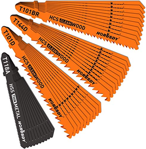HORUSDY 40-piece Metal & Woodworking Jig Saw Blade Set with Storage Case,T-Shank blades, HSS/HCS, Blades Assorted for Wood, Thin Sheet Metal Steel, Aluminum Cutting