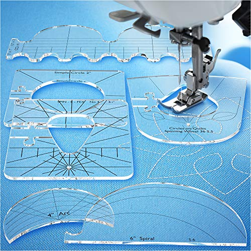Quilting Templates for Domestic Sewing Machine - Sewing Tools New Ruler - Quilting Tool Templates Acrylic - Highly Durable and Safe - Quilting Rulers and Templates Thickness 1/4'