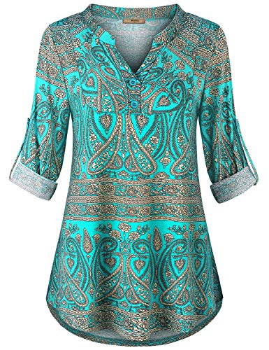 Miusey Bohemian Tops for Women,Petite Shirts Cuffed Sleeve Fall Clothing Fashion Beauty Printed Blouses Flowy Pleated Curved Hem Boutique Tunics Casual Loose Outfits Flower Green L