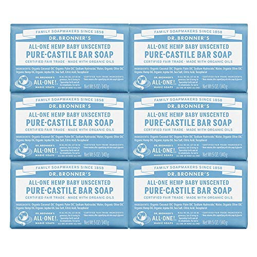 Dr. Bronner's - Pure-Castile Bar Soap (Baby Unscented, 5 oz, 6-Pack) -Made with Organic Oils, For Face, Body & Hair, Gentle for Sensitive Skin & Babies, No Added Fragrance,Biodegradable,Vegan,Non-GMO