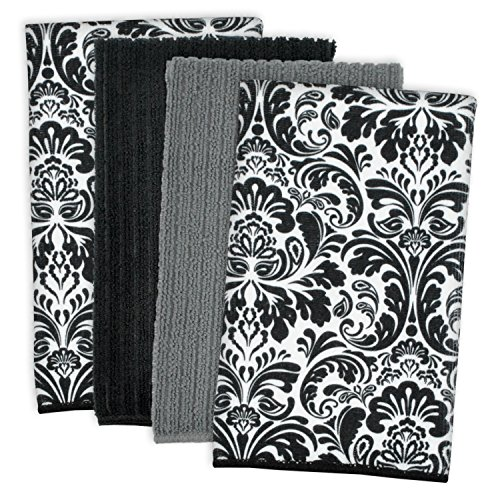DII Microfiber Multi-Purpose Cleaning Towels Perfect for Kitchens, Dishes, Car, Dusting, Drying Rags, 16 x 19', Set of 4 - Black Damask