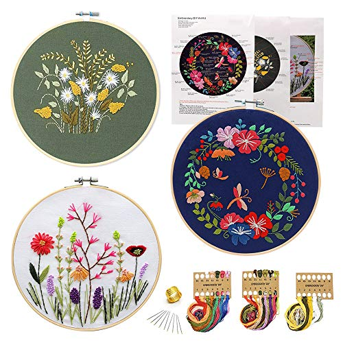 3 Pack Embroidery Starter Kit with Pattern,Hand Crewel Embroidery for Beginners 7.9 inch,Including Bamboo Hoops,Colorful Thread and Needles(Floral Style)